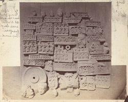 Buddhist sculpture fragments from (?) the lower monastery at Nutta, Peshawar District.